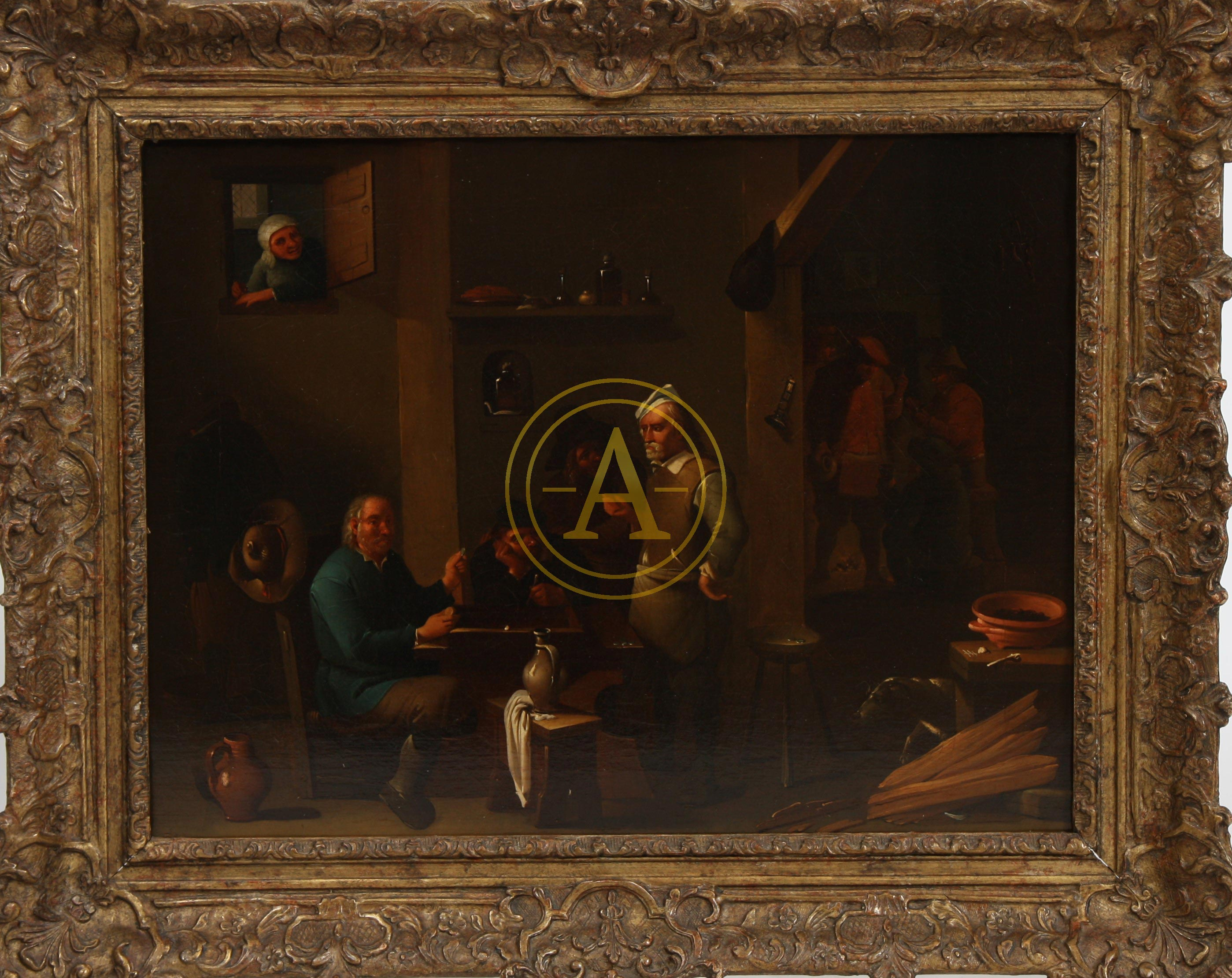 tableau scene d 39 interieur flamand xviii antiques trade gallery. Black Bedroom Furniture Sets. Home Design Ideas